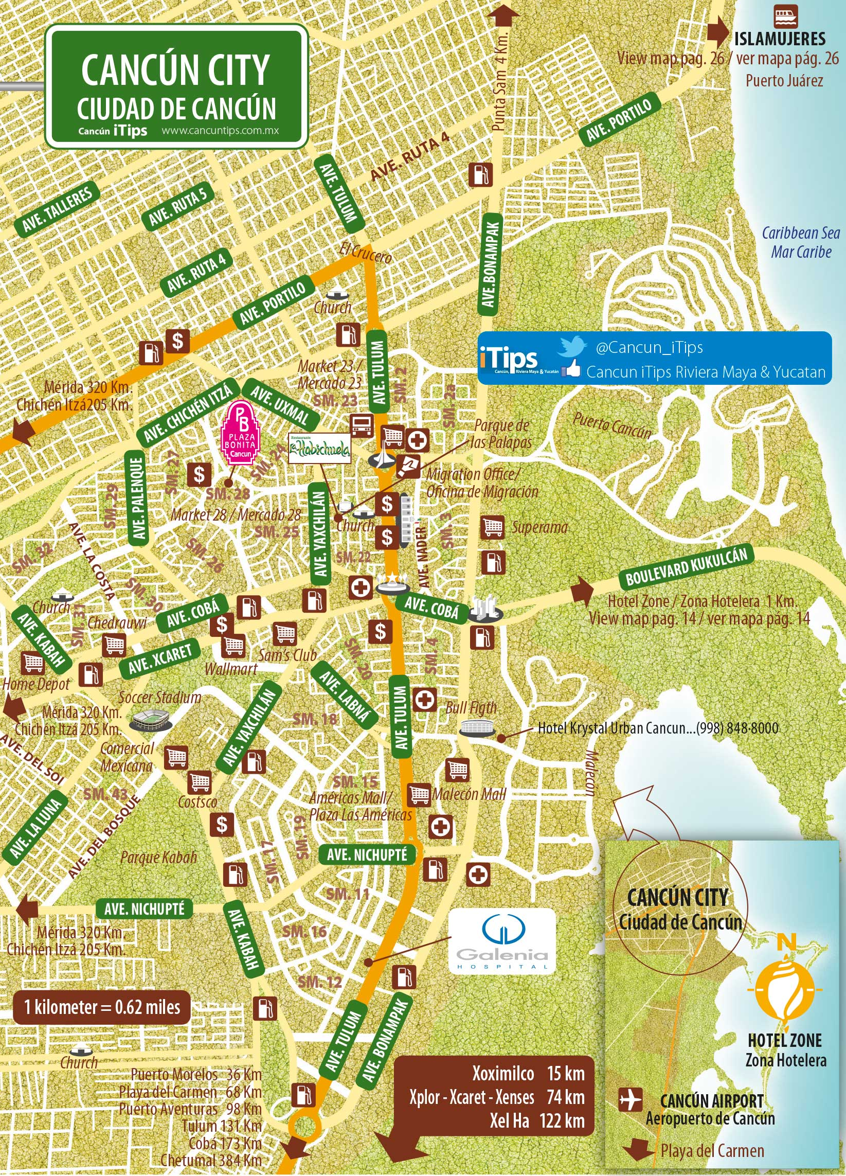 Mapa Canc 250 N Cancun Tips