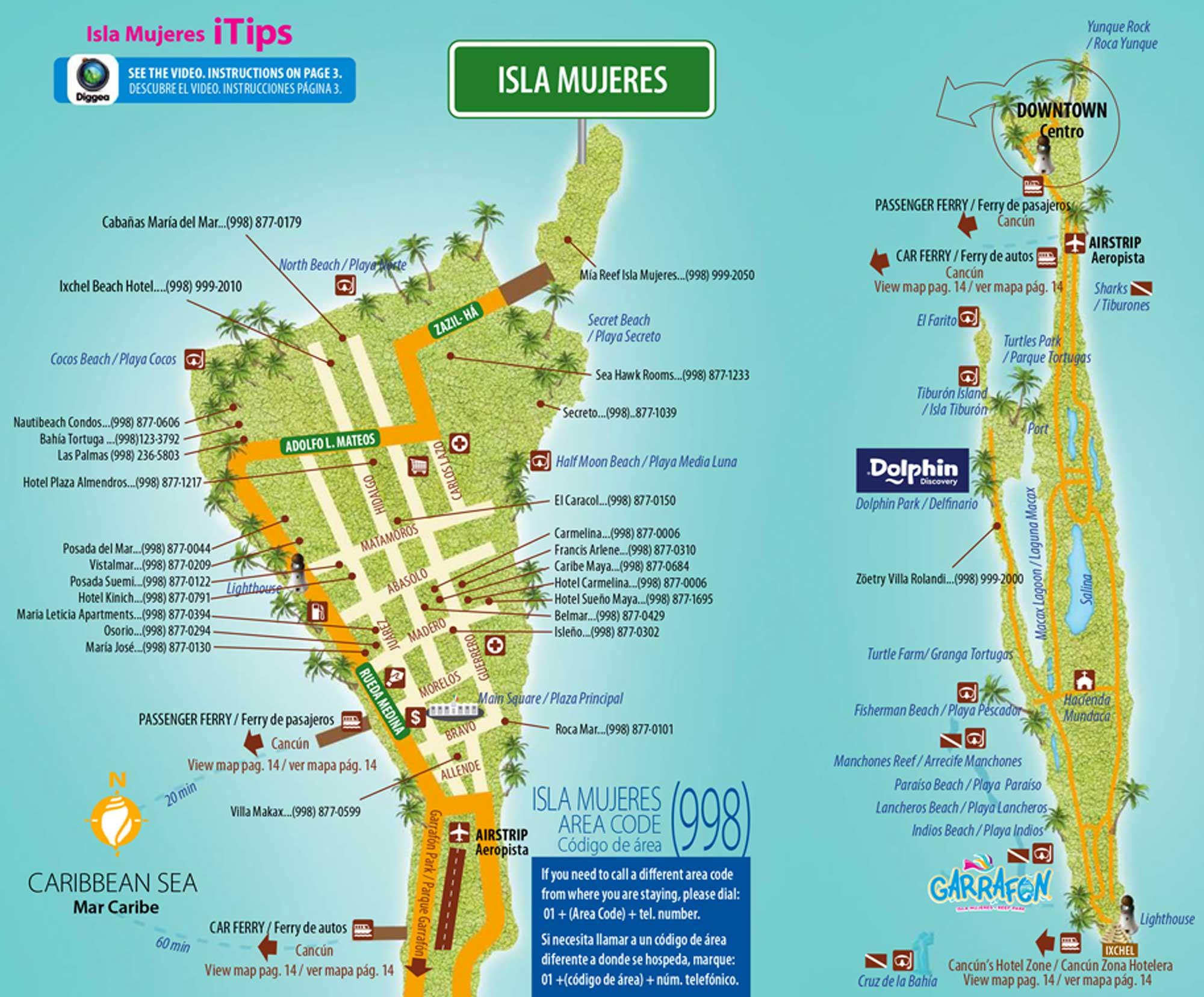Mapa Isla Mujeres Cancun Tips